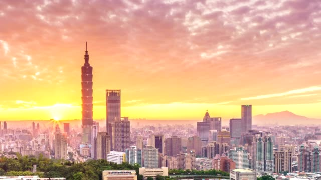 Sunset of  Taipei city from day to night