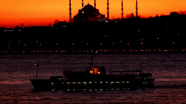 sunset of the hagia sophia from bosphorus strait - bosphorus stock videos and b-roll footage