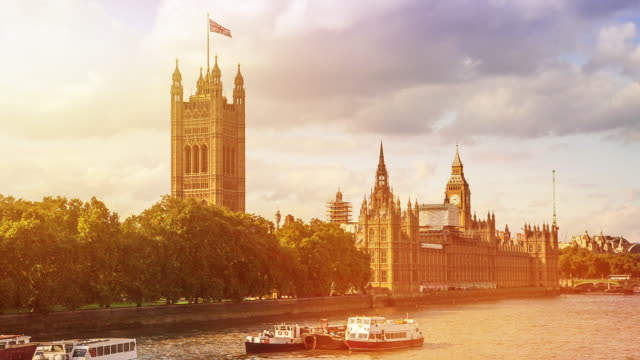 sunset of westminster, london, uk - parliament stock videos & royalty-free footage