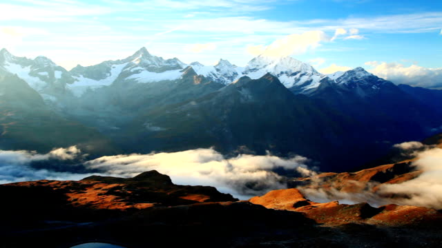 sunset of zermatt valley - central europe stock videos and b-roll footage