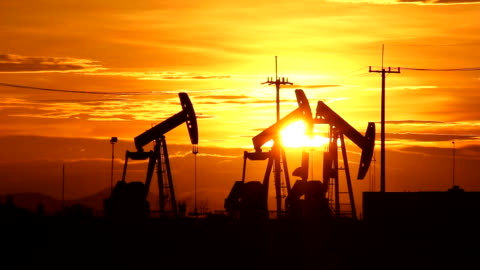 sunset oil pump in countryside - petrol stock videos & royalty-free footage