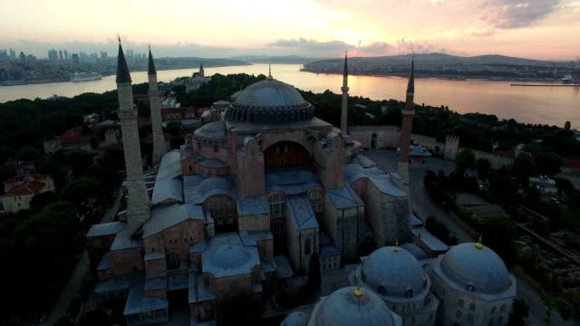 sunset on hagia sophia museum in istabul, turkey - sultanahmet district stock videos and b-roll footage