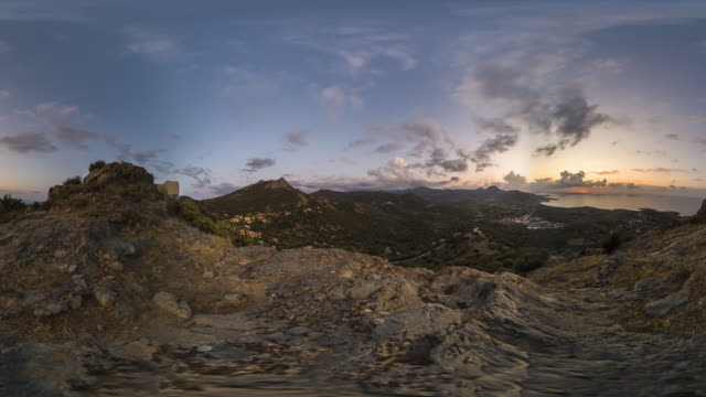 360 vr sunset on high viewpoint in mountains over the sea - 360 stock videos & royalty-free footage