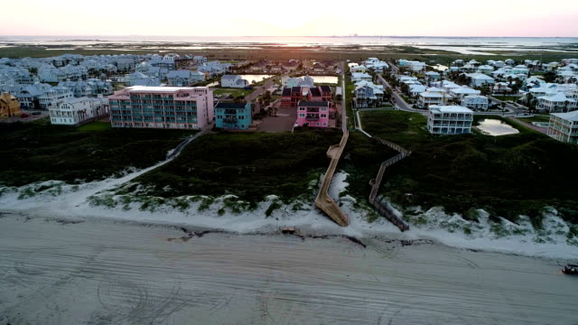 sunset on port aransas texas paradise island with boardwalk across sand dunes to the beach - corpus christi texas stock videos & royalty-free footage