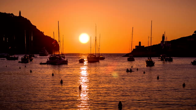 sunset on port de sóller - balearic islands stock videos and b-roll footage