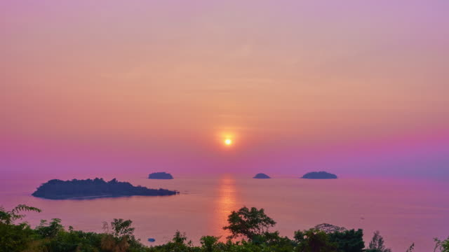 sunset on sea time lapse - koh chang stock videos and b-roll footage