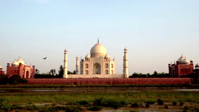 sunset on the backside of the taj mahal. - taj mahal stock videos and b-roll footage