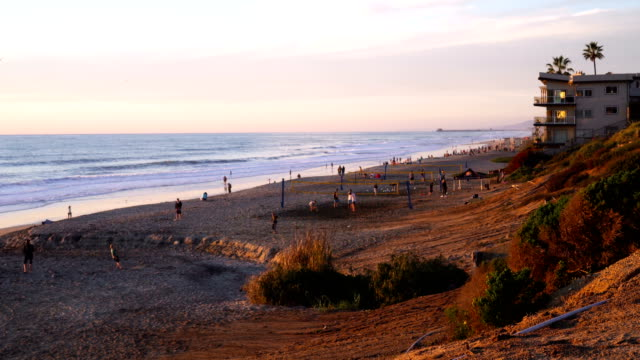 4k sunset on the beach. hand held. - carlsbad california stock videos & royalty-free footage