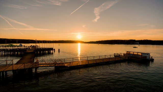 sunset on the lake timelapse - high dynamic range imaging stock videos and b-roll footage