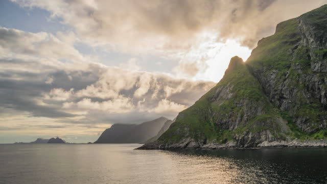 sunset on the lofoten islands and the sea. - fjord stock videos & royalty-free footage
