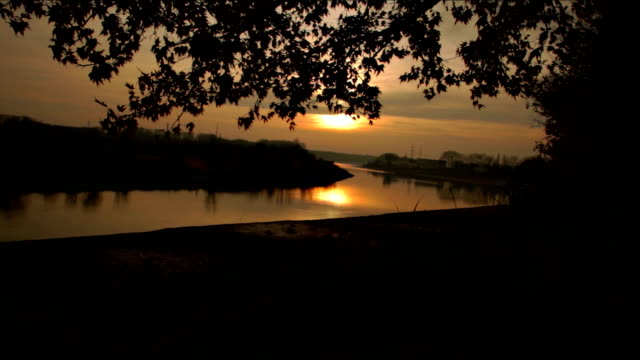 sunset on the river in the forest - water's edge stock videos and b-roll footage