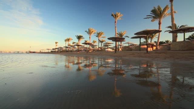 sunset on the sandy beach. red sea, egypt - hurghada stock-videos und b-roll-filmmaterial