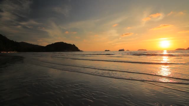 sunset on the sea shore - koh chang stock videos and b-roll footage