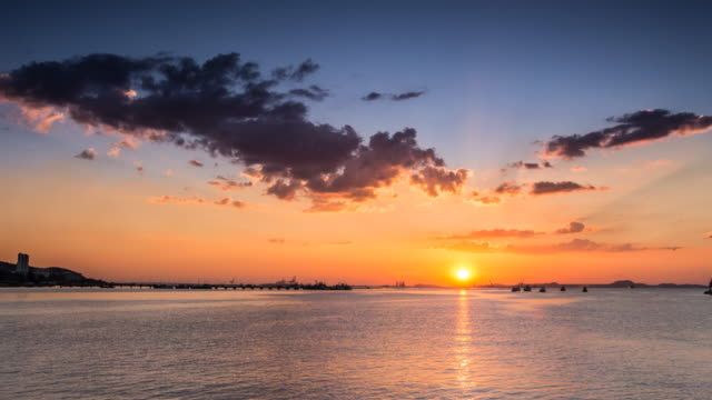 sunset on the sea time lapse - chicago loop stock videos and b-roll footage