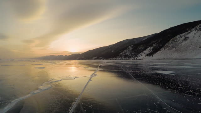 Sunset on the shore of Lake Baikal