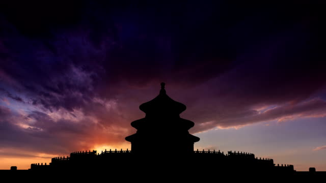 t/l cgi ws sunset on the temple of heaven / beijing, china - temple of heaven stock videos & royalty-free footage