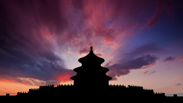 vidéos et rushes de t/l cgi ws sunset on the temple of heaven / beijing, china - temple du ciel