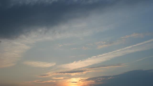 t/l sunset, orange, wispy clouds - wispy stock videos & royalty-free footage