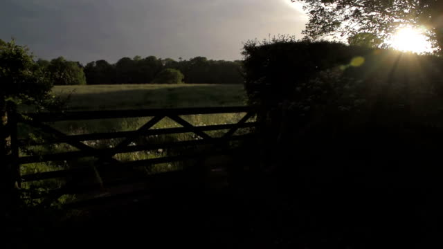 Sunset Over A British Country Gate