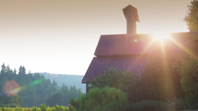 ブドウ園の農村ビルに沈む夕日 - 農家の納屋点の映像素材/bロール