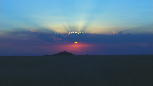 ws sunset over african grassland and rocky outcrop - outcrop stock videos & royalty-free footage
