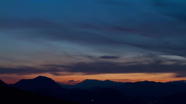 sunset over chuncheon, gangwon province, south korea - dark blue stock videos & royalty-free footage