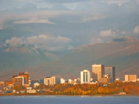 t/l sunset over city, anchorage, alaska, usa - anchorage alaska stock videos & royalty-free footage
