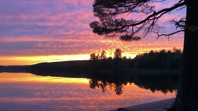 sunset over deer lake in michigan's upper peninsula. - upper peninsula stock videos & royalty-free footage