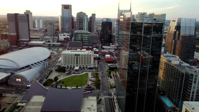 sunset over downtown nashville - nashville stock videos and b-roll footage