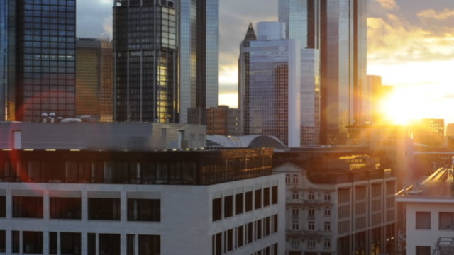 sunset over frankfurt financial center timelapse, germany (hd720p) - main tower stock videos and b-roll footage