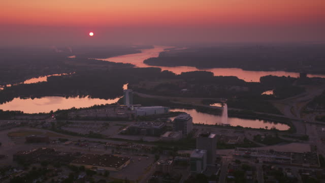aerial sunset over gatineau, quebec - canadian politics stock videos & royalty-free footage