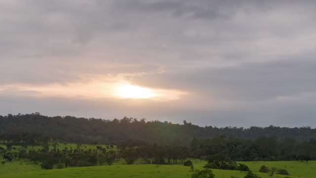 sunset over grassland with silhouette mountain background, thung salaeng luang national park, savanna plain of thailand - national grassland stock videos & royalty-free footage