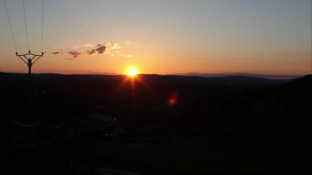 sunset over hills - telegraph pole stock videos & royalty-free footage