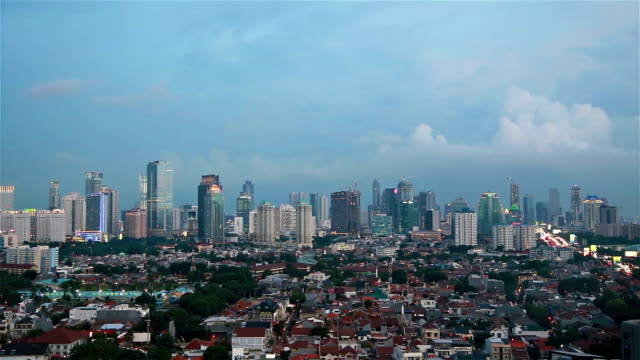 Sunset over Jakarta shot as a time lapse