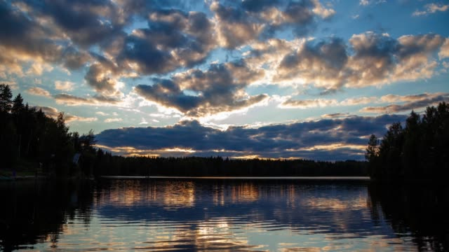 sunset over lake - russia stock videos & royalty-free footage