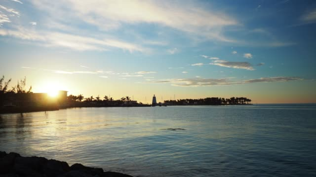 Sunset over lighthouse in Marathon Key