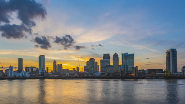 Sunset over London Docklands.