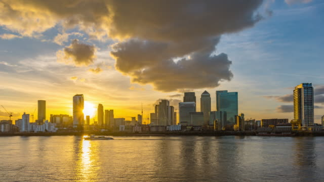 Sunset over London Docklands.