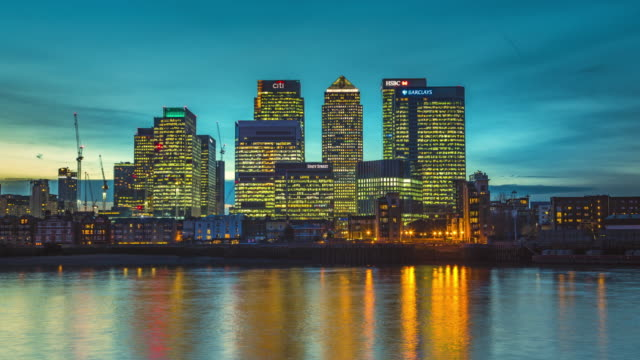 sunset over london docklands. - sunset stock videos & royalty-free footage