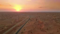 Sunset over Middle Eastern desert