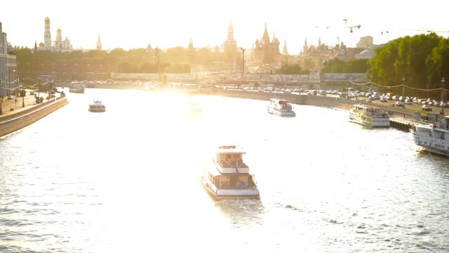 sunset over moscva river in moscow - river moscva stock videos & royalty-free footage