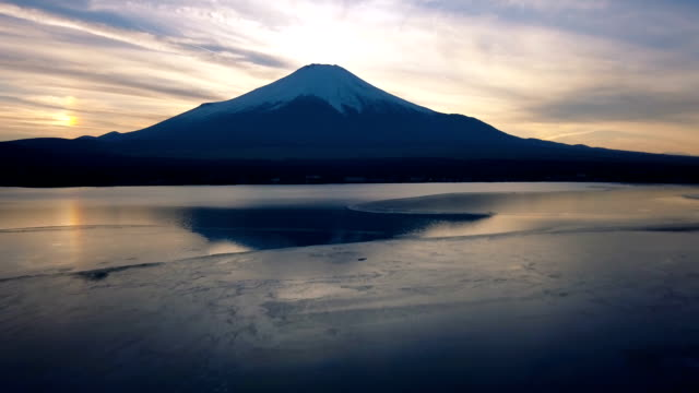 sunset over mount fuji in winter - frozen stock videos and b-roll footage
