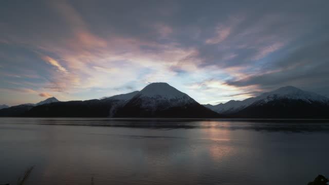 Sunset over mountain on Kenai Peninsula.