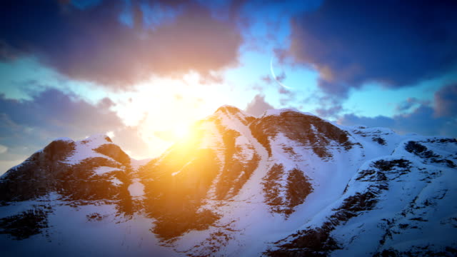 sunset over mountain ridge - mountain peak stock videos and b-roll footage