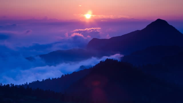 t/l ws ha sunset over mountains of shiga prefecture, kusatsu, shiga, japan - japan stock videos & royalty-free footage