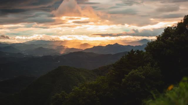 sunset over mountains view from bongnaesan mountain / yeongwol-gun, gangwon-do, south korea - south korea stock videos & royalty-free footage