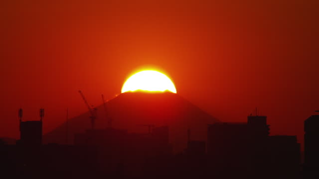 sunset over mt. fuji in japan - construction machinery stock videos & royalty-free footage