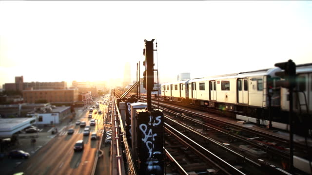 sunset over new york skyline - brooklyn new york stock videos & royalty-free footage