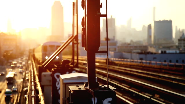 sunset over new york skyline - railway station stock videos and b-roll footage