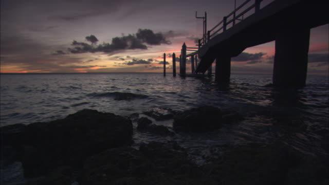 WS, Sunset over ocean and pier, Baja California, Mexico